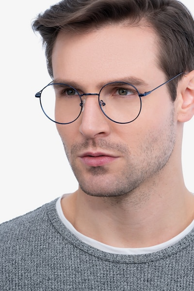Dapper Navy Metal Eyeglass Frames for Men from EyeBuyDirect, Front View