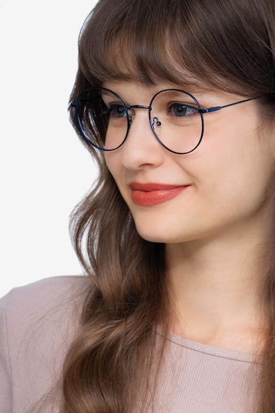 Dapper Navy Metal Eyeglass Frames for Women from EyeBuyDirect, Front View