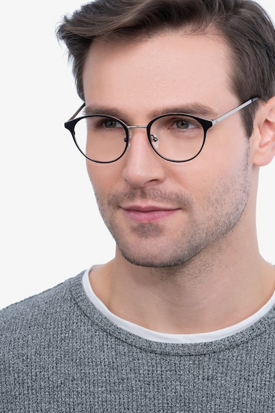 Broadway Gunmetal Metal Eyeglass Frames for Men from EyeBuyDirect, Front View