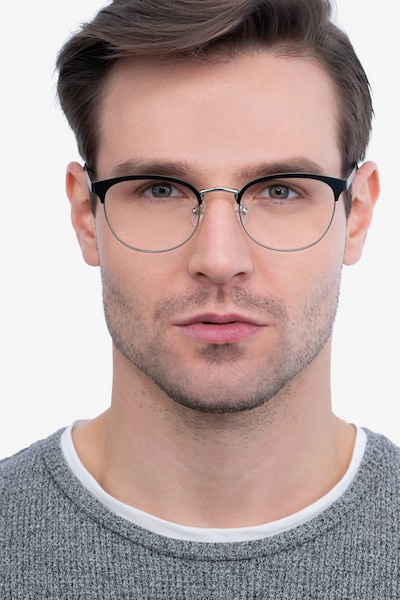The Works Black Metal Eyeglass Frames for Men from EyeBuyDirect, Front View