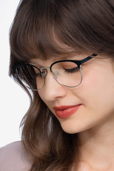 The Works Black Metal Eyeglass Frames for Women from EyeBuyDirect