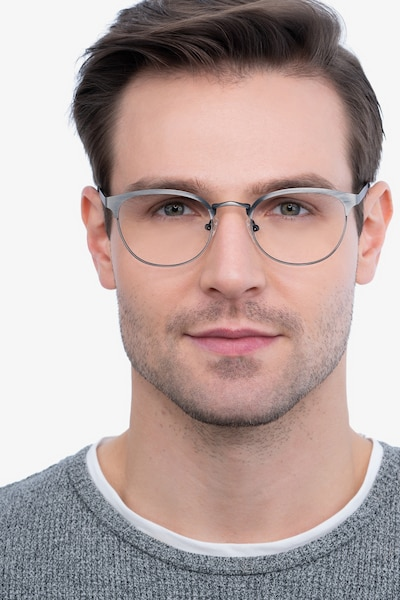 The Works Gunmetal Metal Eyeglass Frames for Men from EyeBuyDirect, Front View
