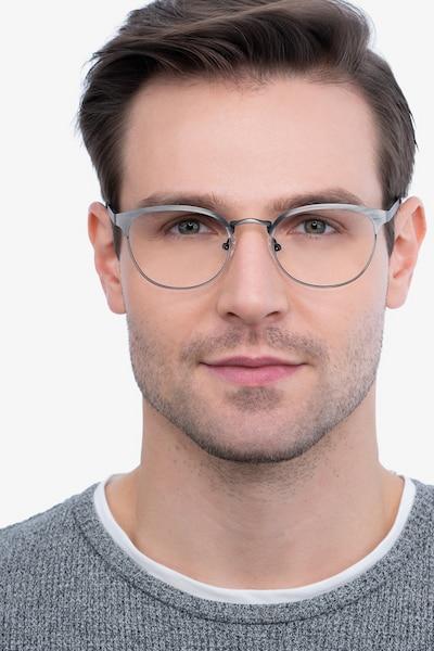 The Works Gunmetal Metal Eyeglass Frames for Men from EyeBuyDirect