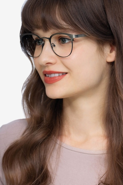The Works Gunmetal Metal Eyeglass Frames for Women from EyeBuyDirect, Front View