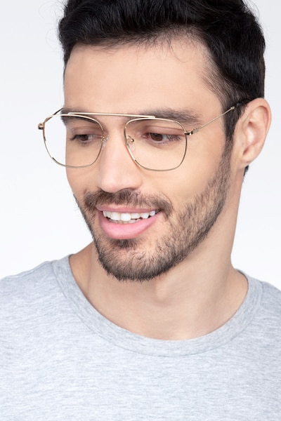 Moxie Golden Metal Eyeglass Frames for Men from EyeBuyDirect, Front View