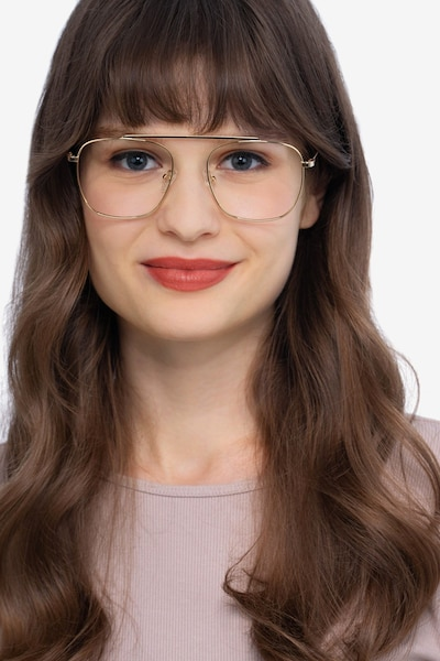 Moxie Golden Metal Eyeglass Frames for Women from EyeBuyDirect, Front View