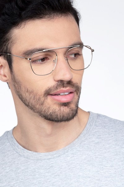 Moxie Silver Metal Eyeglass Frames for Men from EyeBuyDirect, Front View