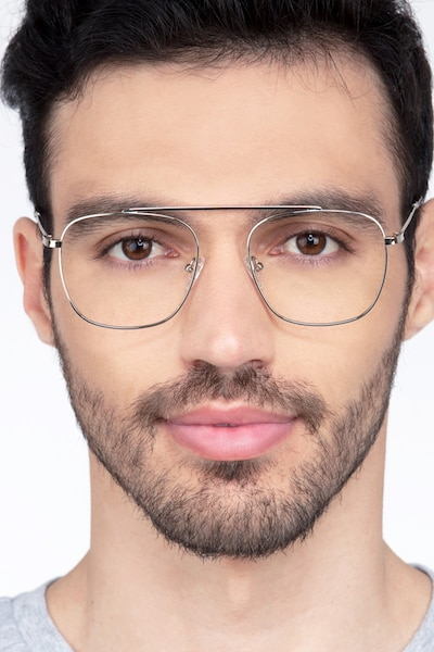 Moxie Silver Metal Eyeglass Frames for Men from EyeBuyDirect