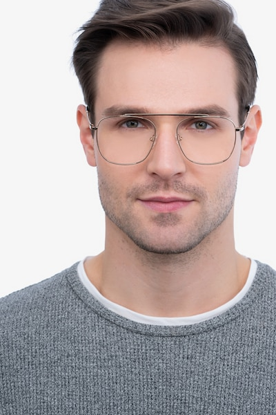 Moxie Rose Gold Metal Eyeglass Frames for Men from EyeBuyDirect, Front View
