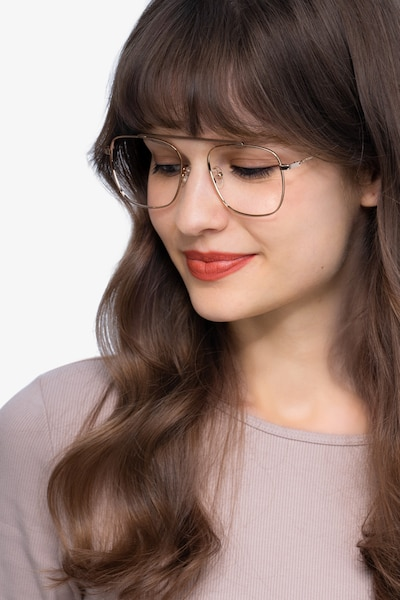 Moxie Rose Gold Metal Eyeglass Frames for Women from EyeBuyDirect, Front View