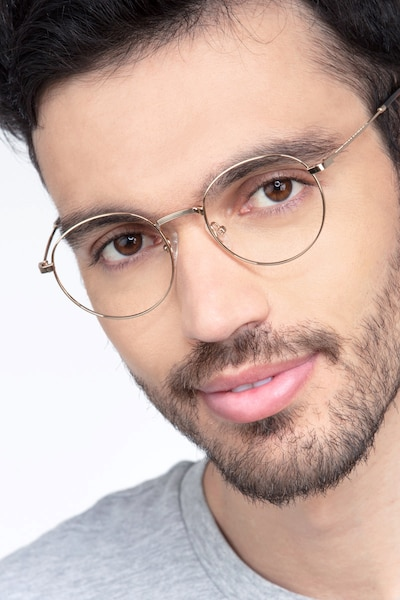 Bistro Golden Metal Eyeglass Frames for Men from EyeBuyDirect