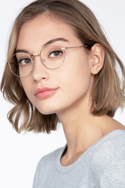 Bistro Golden Metal Eyeglass Frames for Women from EyeBuyDirect, Front View