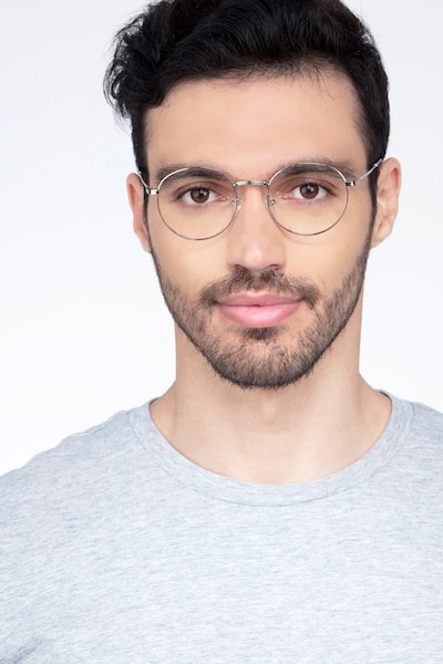 Bistro Silver Metal Eyeglass Frames for Men from EyeBuyDirect, Front View