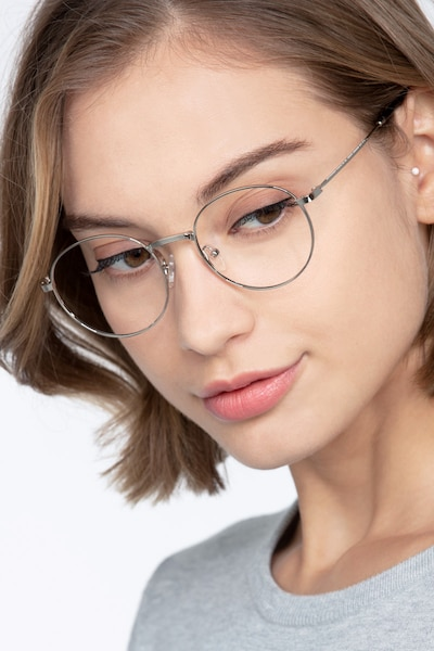 Bistro Silver Metal Eyeglass Frames for Women from EyeBuyDirect