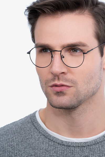 Novel Black Metal Eyeglass Frames for Men from EyeBuyDirect, Front View