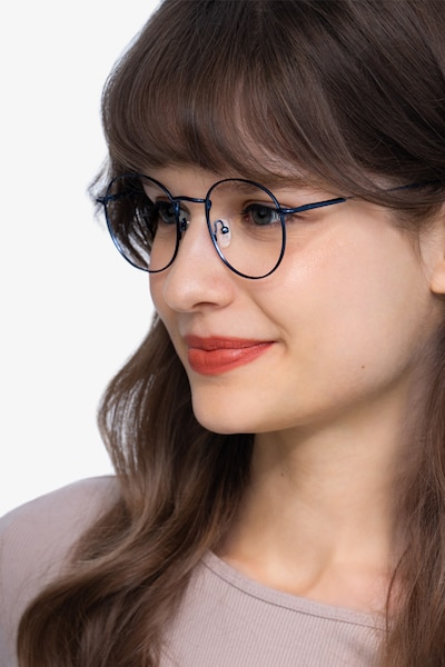 Novel Navy Metal Eyeglass Frames for Women from EyeBuyDirect