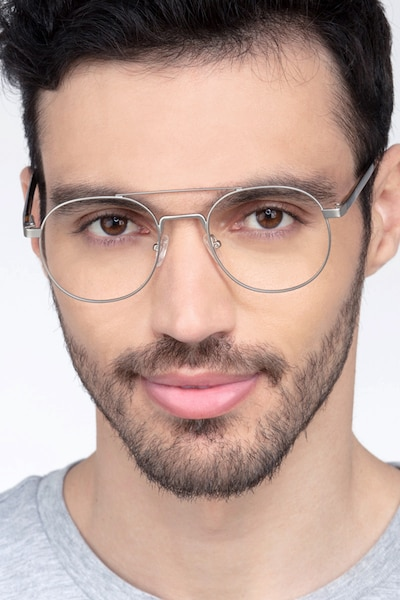Lock XL Silver Metal Eyeglass Frames for Men from EyeBuyDirect