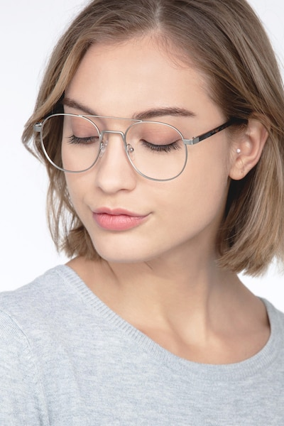 Lock XL Silver Metal Eyeglass Frames for Women from EyeBuyDirect