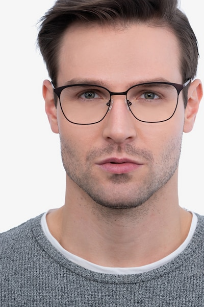 Avenue Brown Metal Eyeglass Frames for Men from EyeBuyDirect, Front View