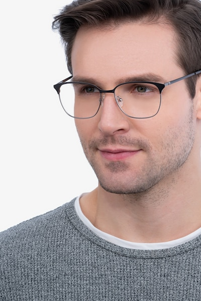 Avenue Gunmetal Metal Eyeglass Frames for Men from EyeBuyDirect, Front View