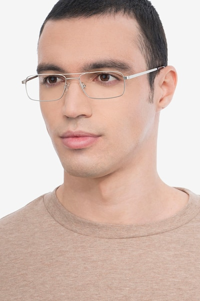 Maverick Silver Metal Eyeglass Frames for Men from EyeBuyDirect, Front View