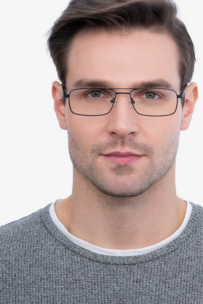 Maverick Black Metal Eyeglass Frames for Men from EyeBuyDirect, Front View