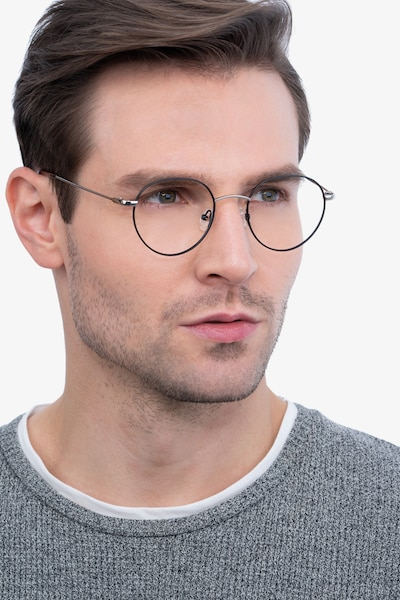Retell Black Metal Eyeglass Frames for Men from EyeBuyDirect, Front View