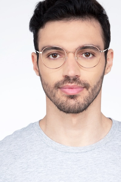 Retell Rose Gold Metal Eyeglass Frames for Men from EyeBuyDirect, Front View