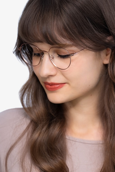 Retell Rose Gold Metal Eyeglass Frames for Women from EyeBuyDirect, Front View