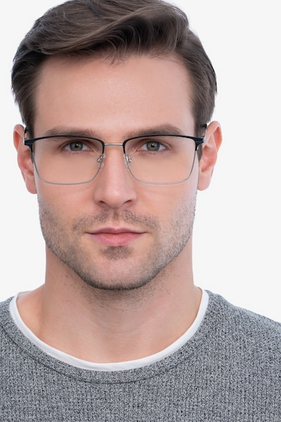 Castle Black Metal Eyeglass Frames for Men from EyeBuyDirect, Front View