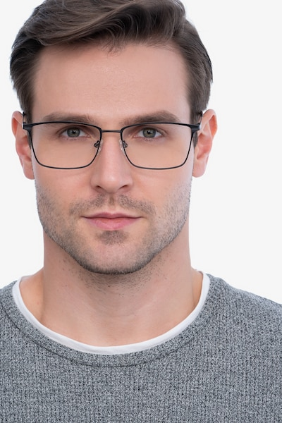 Castle Gunmetal Metal Eyeglass Frames for Men from EyeBuyDirect, Front View
