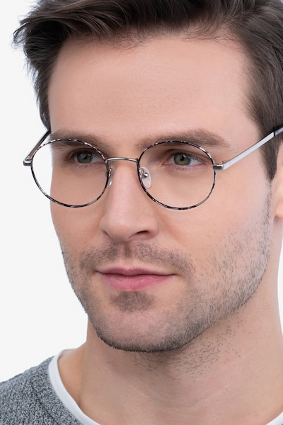 Aero Gray Floral Metal Eyeglass Frames for Men from EyeBuyDirect