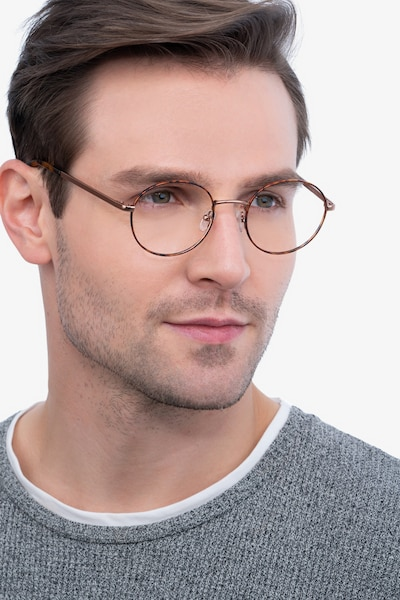 Aero Tortoise Golden Metal Eyeglass Frames for Men from EyeBuyDirect, Front View