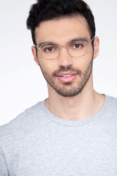 Aspect Golden Métal Montures de Lunettes pour Hommes d'EyeBuyDirect, Vue de Face