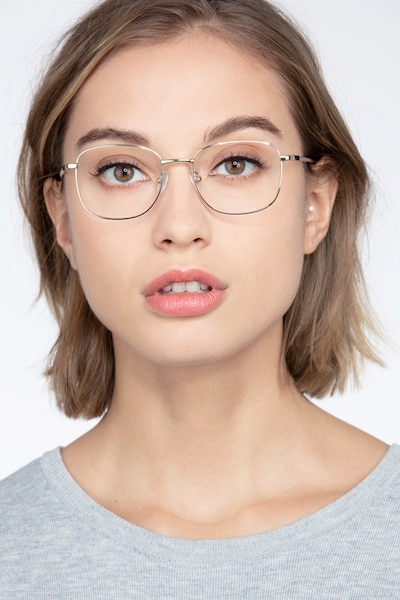 Aspect Golden Metal Eyeglass Frames for Women from EyeBuyDirect, Front View