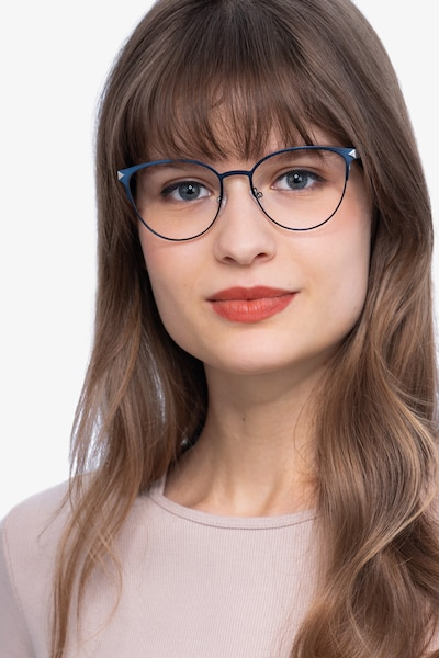 Nadia Blue Metal Eyeglass Frames for Women from EyeBuyDirect, Front View