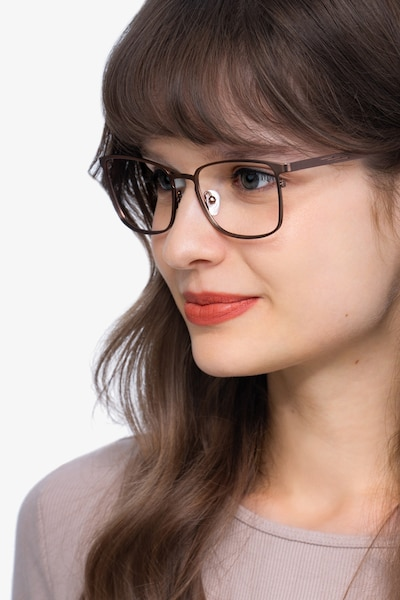 Dakota Brown Metal Eyeglass Frames for Women from EyeBuyDirect, Front View