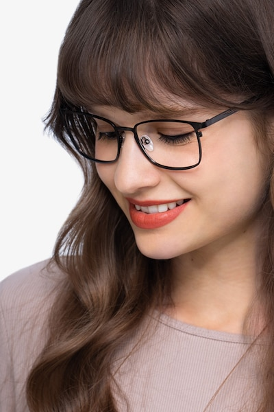 Dakota Gunmetal Metal Eyeglass Frames for Women from EyeBuyDirect, Front View