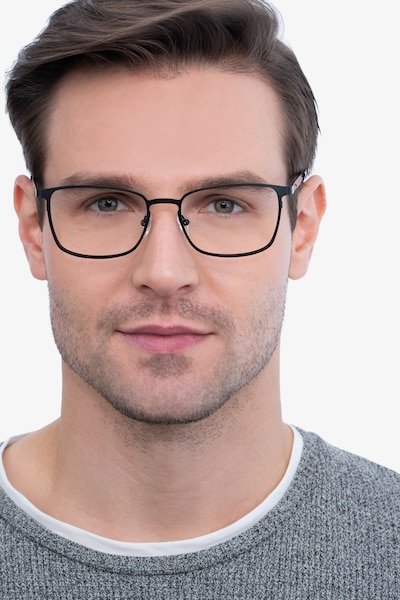 Dakota Black Metal Eyeglass Frames for Men from EyeBuyDirect, Front View
