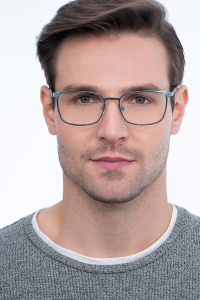Dakota Blue Metal Eyeglass Frames for Men from EyeBuyDirect, Front View