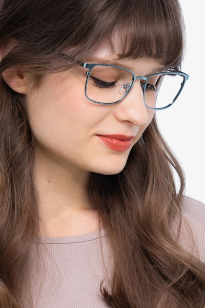 Dakota Blue Metal Eyeglass Frames for Women from EyeBuyDirect, Front View