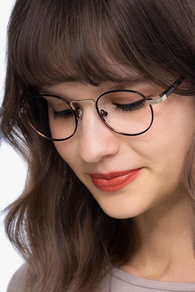 Orbit Brown Metal Eyeglass Frames for Women from EyeBuyDirect
