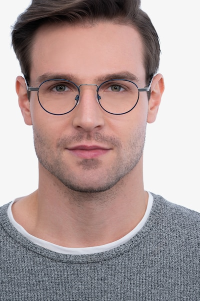 Orbit Blue Acetate-metal Eyeglass Frames for Men from EyeBuyDirect, Front View