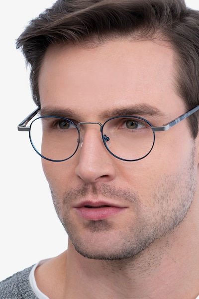 Orbit Blue Acetate-metal Eyeglass Frames for Men from EyeBuyDirect