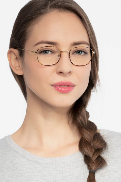Fortune Tortoise Metal Eyeglass Frames for Women from EyeBuyDirect, Front View