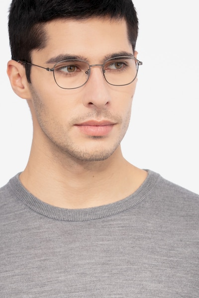 Fortune Gunmetal Metal Eyeglass Frames for Men from EyeBuyDirect, Front View