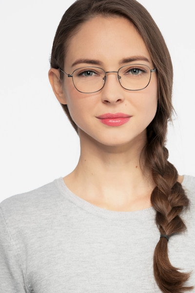 Fortune Gunmetal Metal Eyeglass Frames for Women from EyeBuyDirect