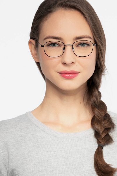 Fortune Black Metal Eyeglass Frames for Women from EyeBuyDirect, Front View