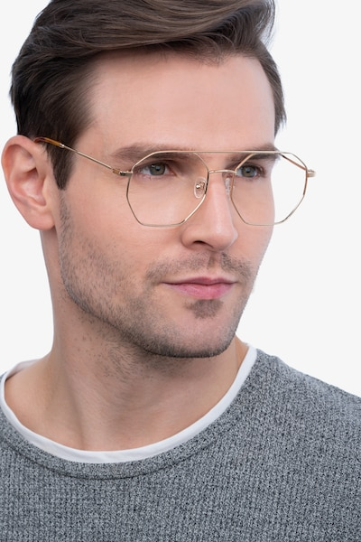 Eight Golden Metal Eyeglass Frames for Men from EyeBuyDirect, Front View