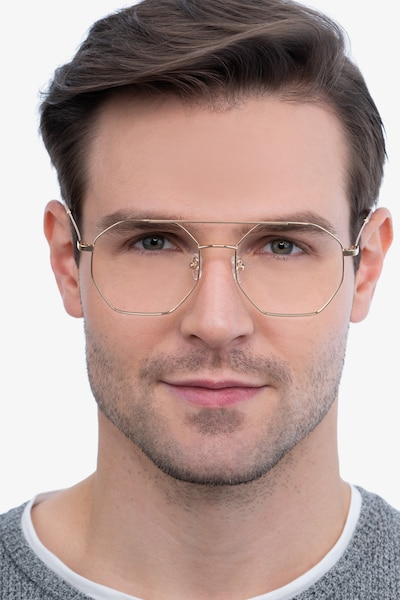 Eight Golden Metal Eyeglass Frames for Men from EyeBuyDirect